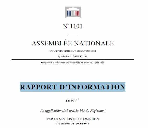 Que retenir du rapport de la Mission d'Information sur la ressource en Eau ?