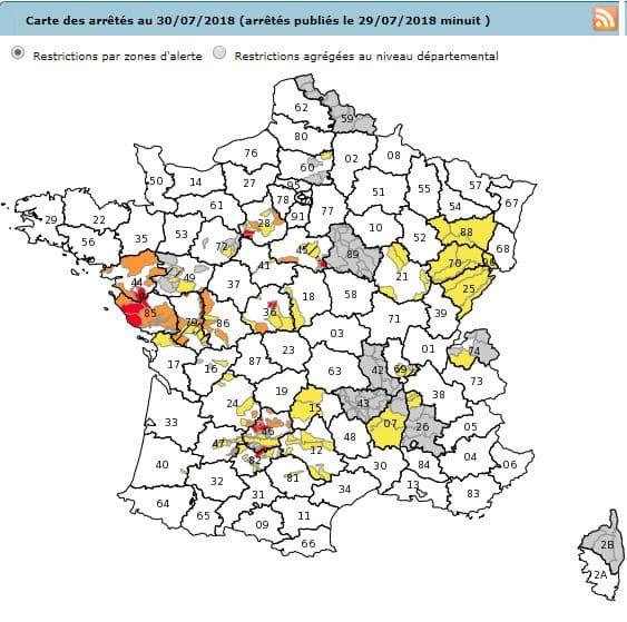 Carte des arrêtés restriction eau